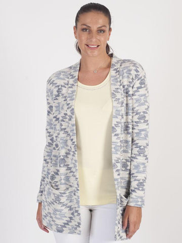 Betty Barclay - Blue/White Aztec Printed Knitted Jacket