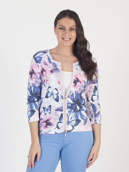 Betty Barclay - Cream/Pink Multi Floral Jersey Zip Cardigan