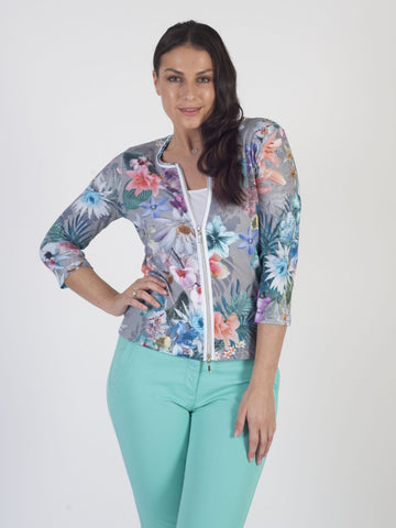 Betty Barclay - Grey/Multi Floral Print Zip Jersey Cardigan
