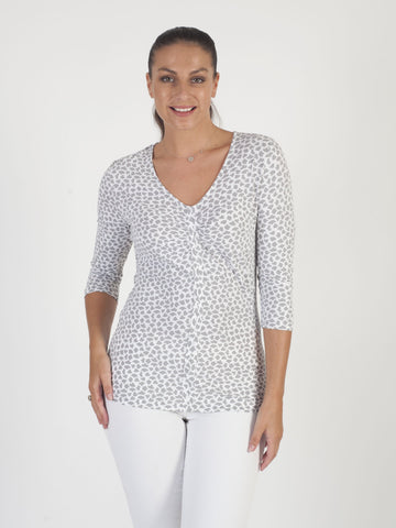 Betty Barclay - Grey/White Printed ¾ Sleeve Jersey Top