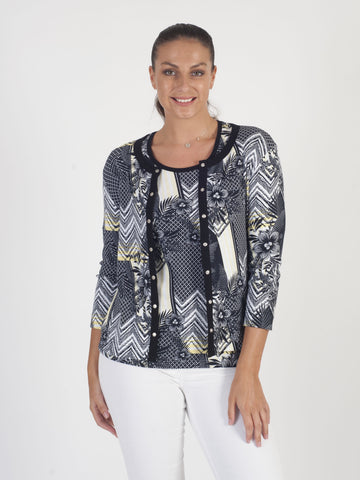 Betty Barclay Floral Printed Jersey Cardigan