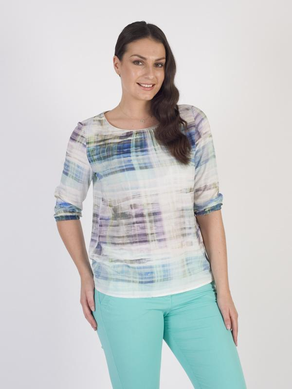 Betty Barclay - Aqua/White Watery Stripe ¾ Sleeve Woven Top