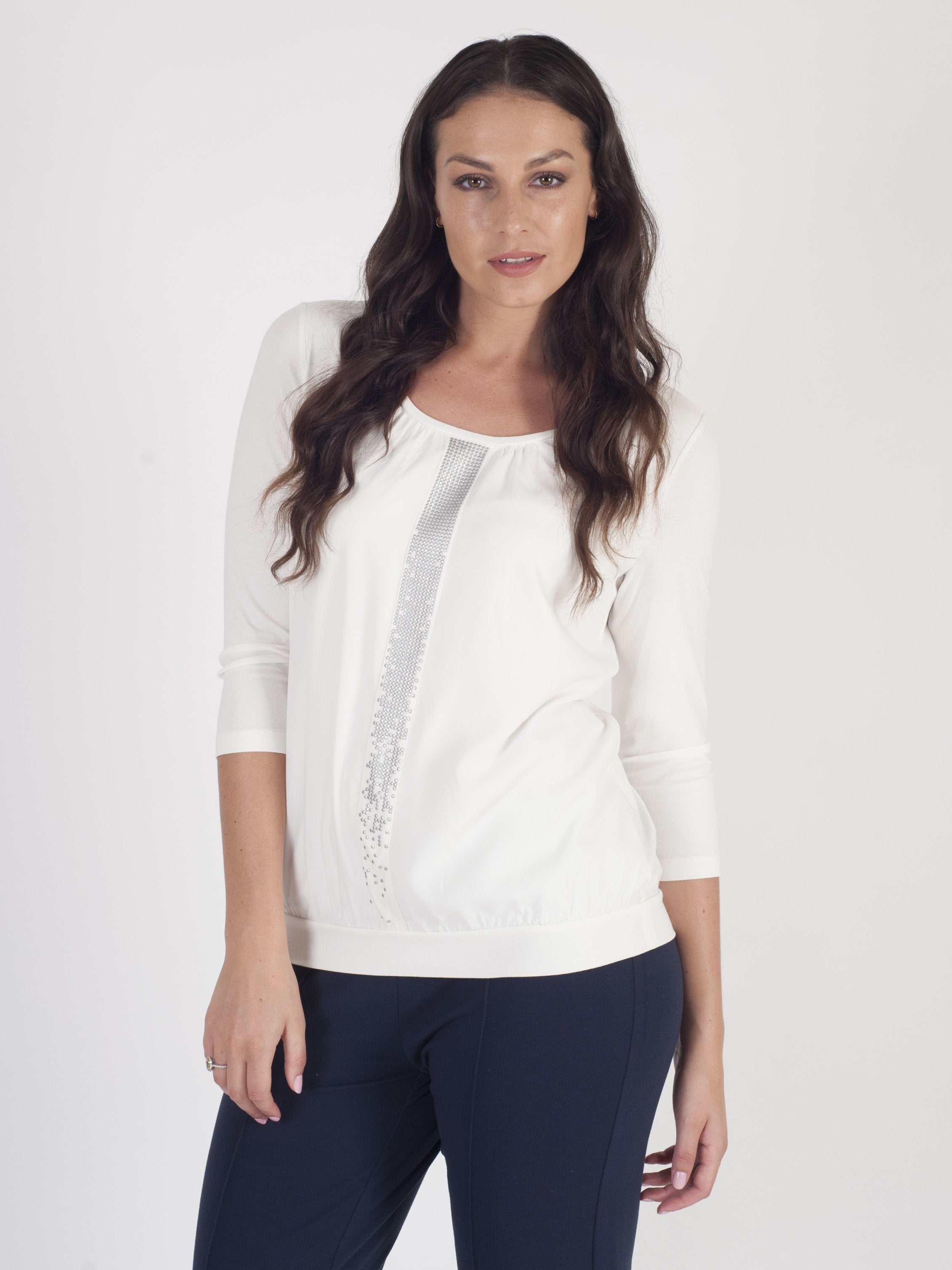 Betty Barclay - Ivory Stud Front Detail Blouson Top