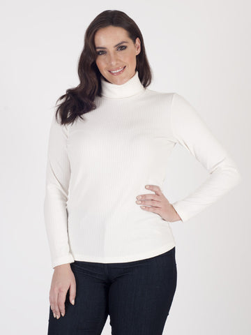 Bianca Rib Jersey Roll neck Top