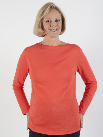 Bianca Long-sleeve Coral Jersey Top