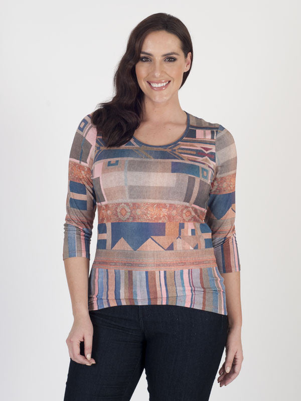 Bianca Abstract-print Jersey Top