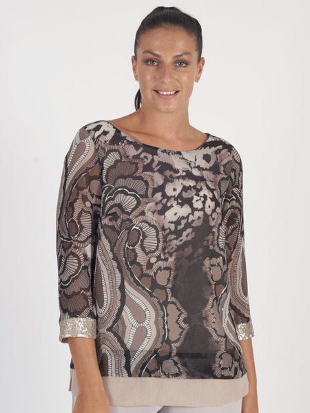Calaluna Brown Animal Print Top