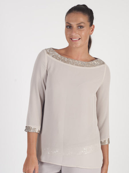 Calaluna Taupe Sequin Detailed Top
