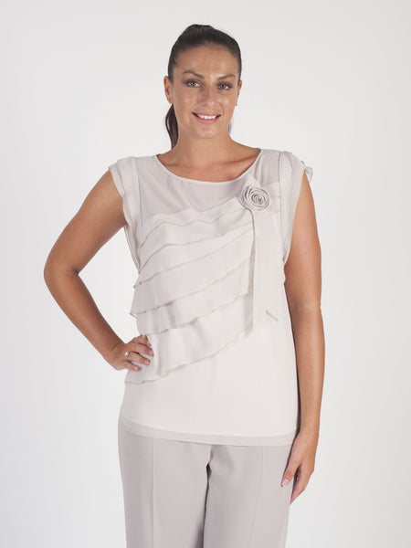 Calaluna Chiffon Tiered Top