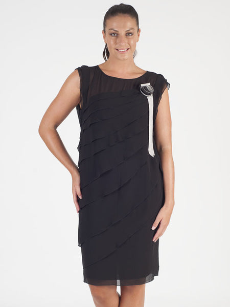 Calaluna Black Tiered Dress
