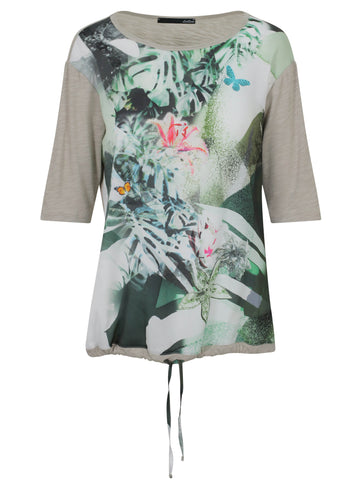 Le Comte Khaki Tropical Print Front and Drawstring Hem Top