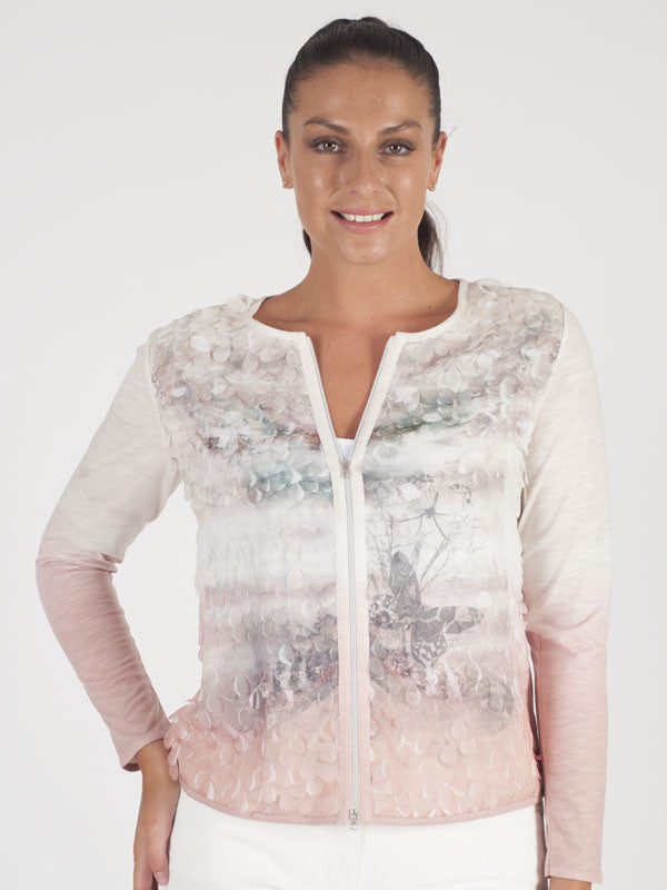 Le Comte Ivory Butterfly Print Cardigan