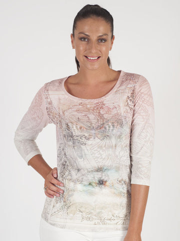 Le Comte Ivory Butterfly Print Top