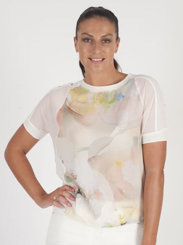 Le Comte Ivory Abstract Floral Print T-Shirt