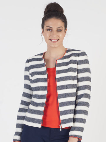 Conrad C Navy And Ivory Stripe Jacket