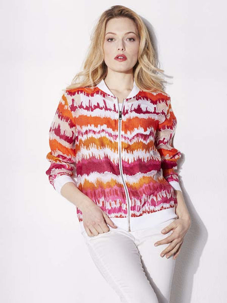 Conrad C Pink And Orange Stripe Bomber Jacket