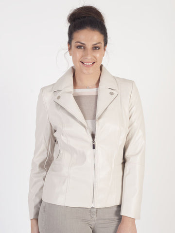 Conrad C Beige Leather Look Jacket