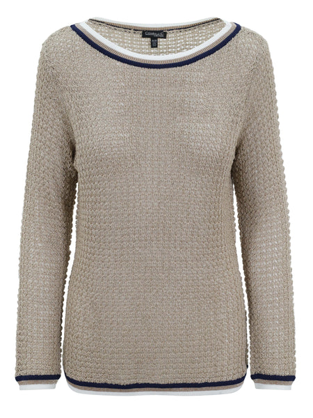 Conrad C Tan and Silver Sparkle Long Sleeve Knit Jumper with Trim