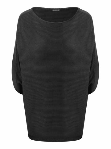 Conrad C Black Ribbed Knit Cross Back Easy Jumper