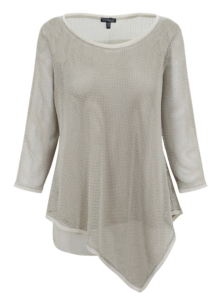 Conrad C Natural Knit Mesh Top with Sequins and Cami