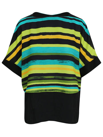 Conrad C Turq/Kiwi Stripe 2 Layer Woven Top