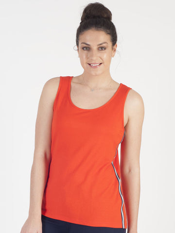 Conrad C Orange Sleeveless Jersey Top
