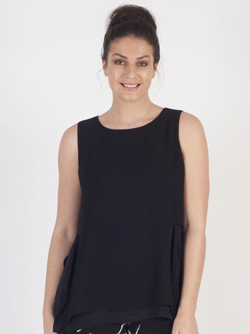 Conrad C Black Layered Frill Top