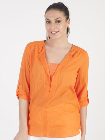 Conrad C Orange Sequin Blouse
