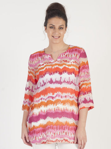 Conrad C Pink And Orange Stripe Tunic