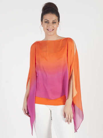 Conrad C Pink and Orange Tie Dye Top