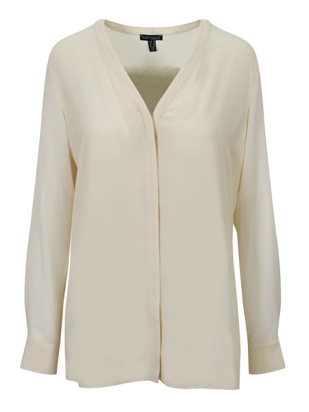 Conrad C Cream Long Sleeve Over Blouse