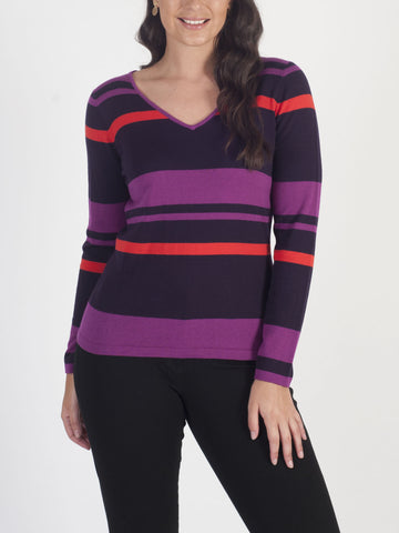 CONRAD C Stripe V-neck Jumper