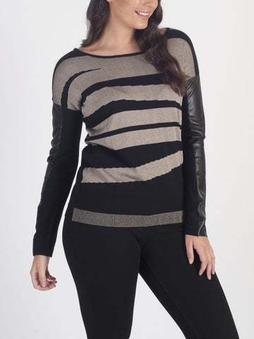 CONRAD C Leather-sleeve Jumper