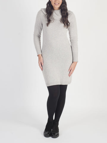 Conrad C Grey Knitted Cowl Neck Dress