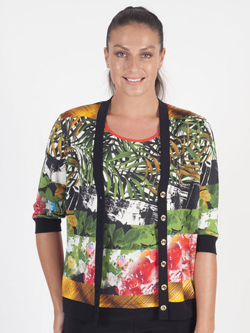 Domina Tropical Jersey Print Cardigan