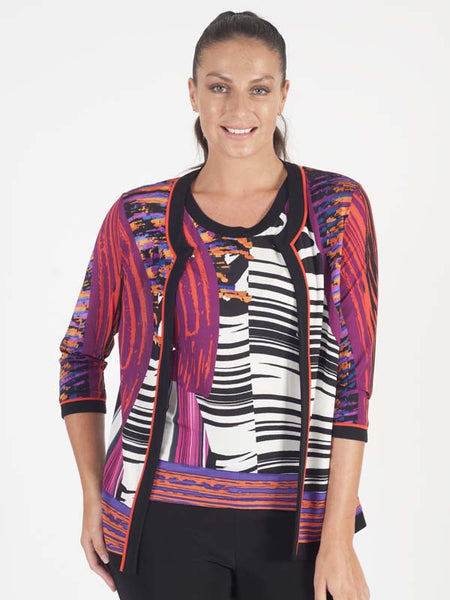 Domina Abstract Jersey Print Cardigan