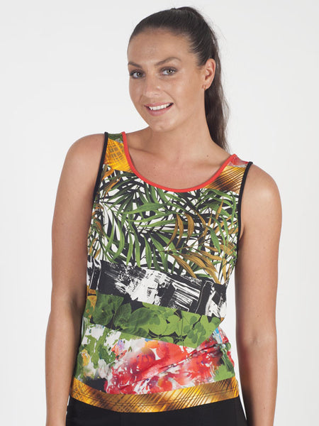 Domina Tropical Sleeveless Jersey Print Top