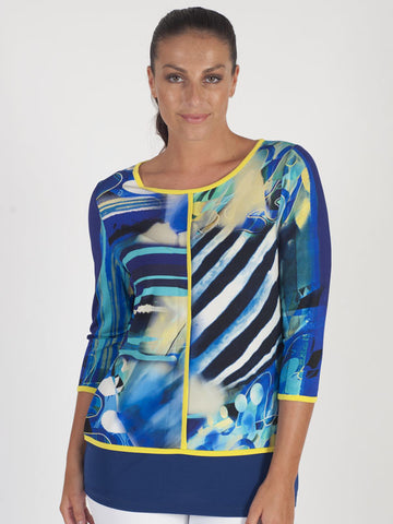 Domina Blue Tropical Print Top