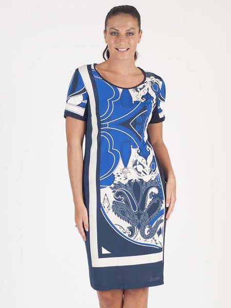 Domina Blue/Navy/White Printed Short Sleeve Jersey Dress