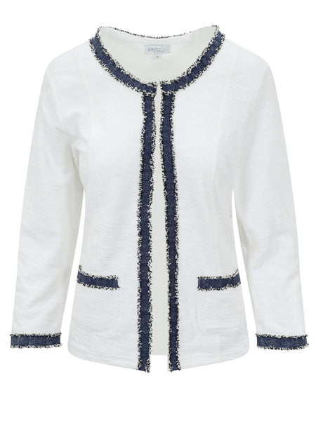Erfo White/Navy Edge to Edge Denim Trim Jacket