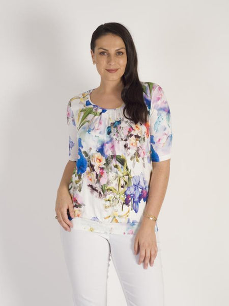 ERFO Ivory/Multi Floral Print Short Sleeve Jersey Top