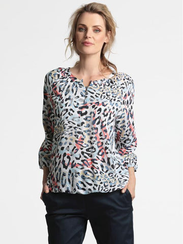Erfo Coral/Blue Animal Print Blouse