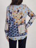 Erfo Blue Patchwork V-Neck Blouse