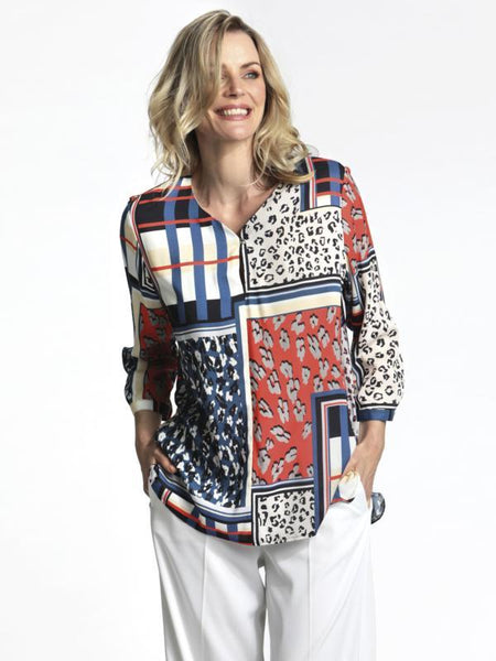 ERFO French Navy/Red/White Patchwork Print Blouse