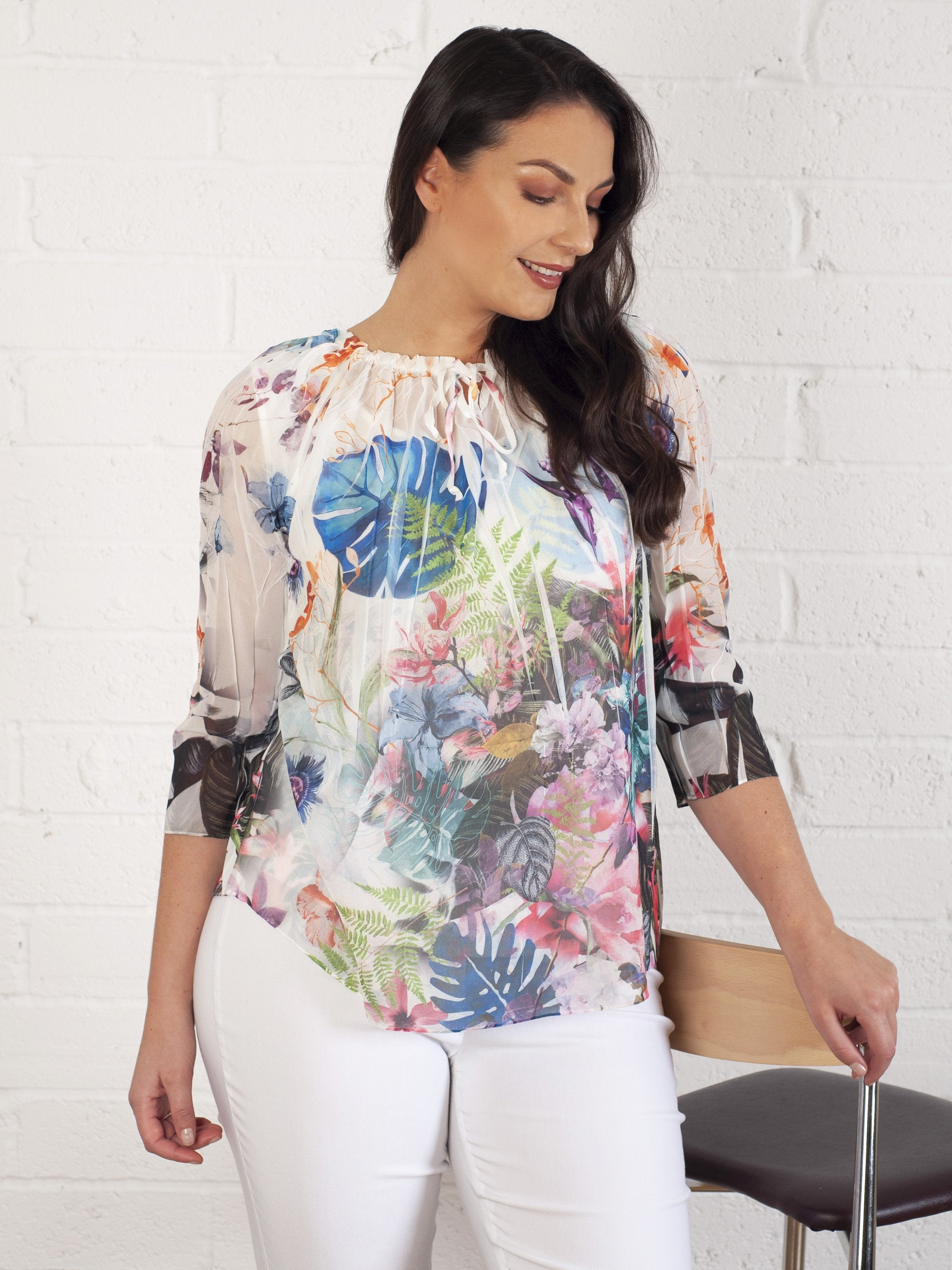 Erfo Multi Tropical Print Top With Drawstring Neckline