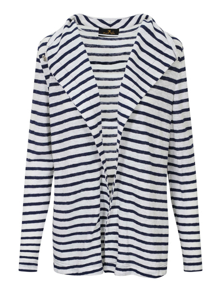 Eugen Klein White/Navy Linen & Cotton Knit Stripe Long Cardigan