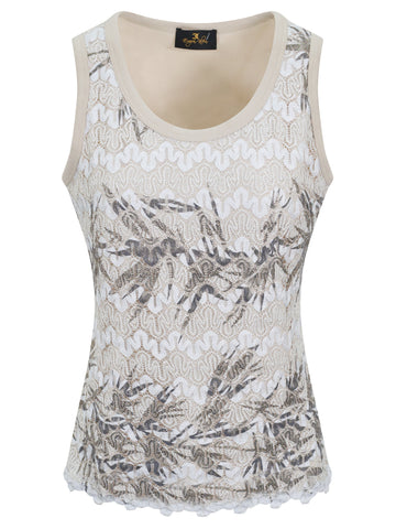EUGEN KLEIN Beige/Cream Lace Front Sleeveless Top