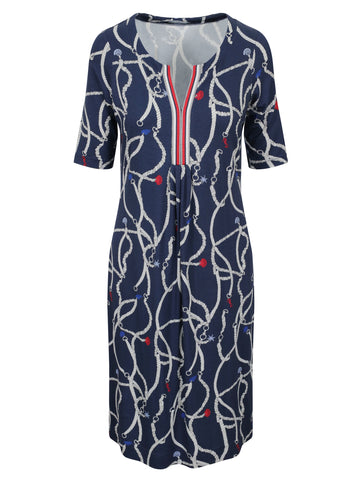 EUGEN KLEIN Navy/Ecru/Red Nautical Print Jersey Dress