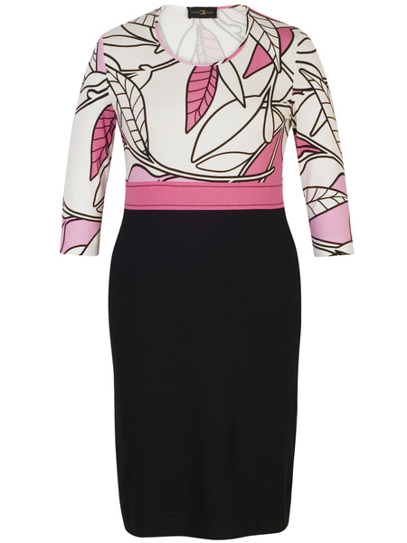 Eugen Klein Pink/Blk/Cream Printed Dress