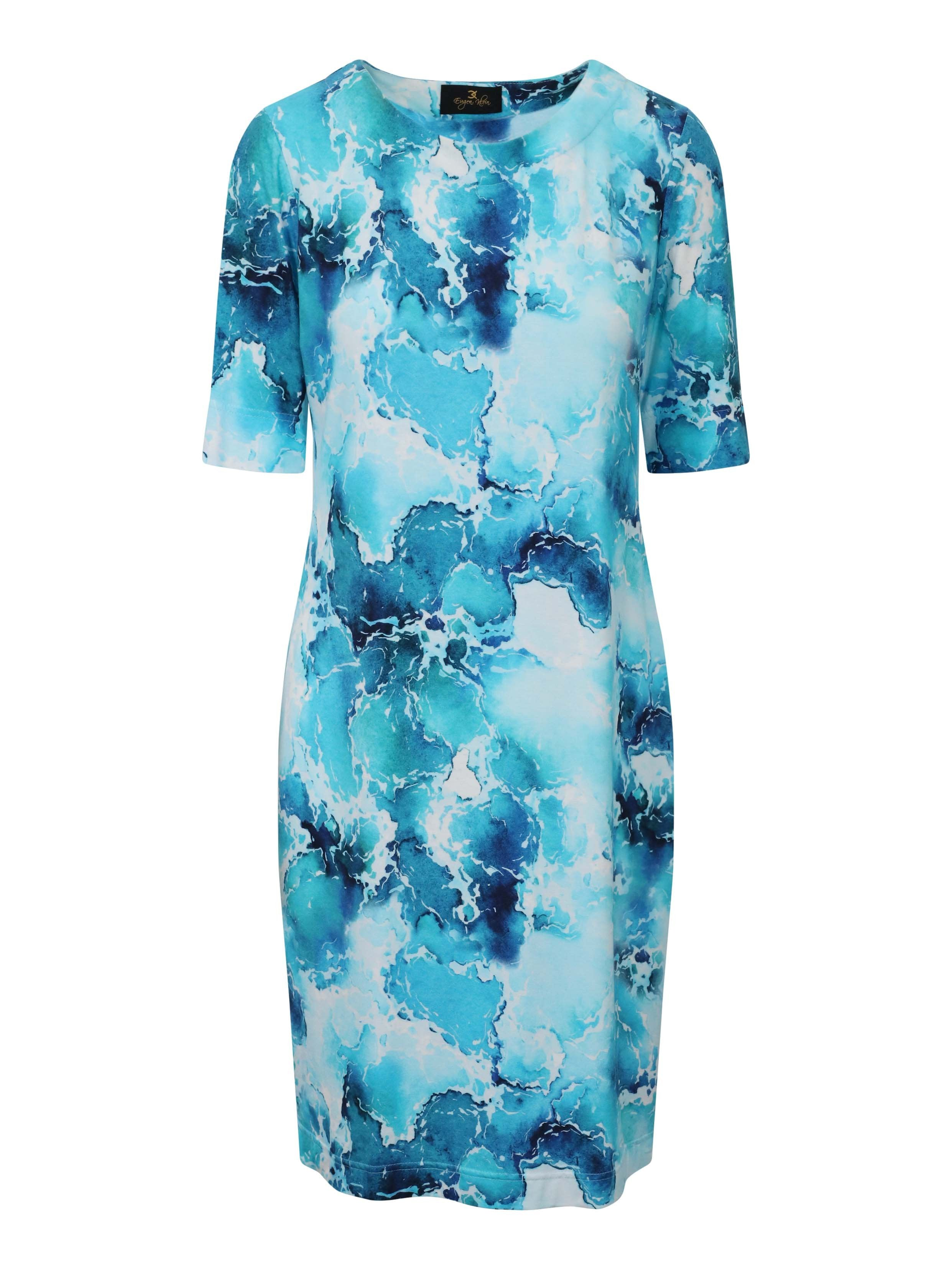 Eugen Klein White/Turq Printed Jersey Short Sleeve Dress